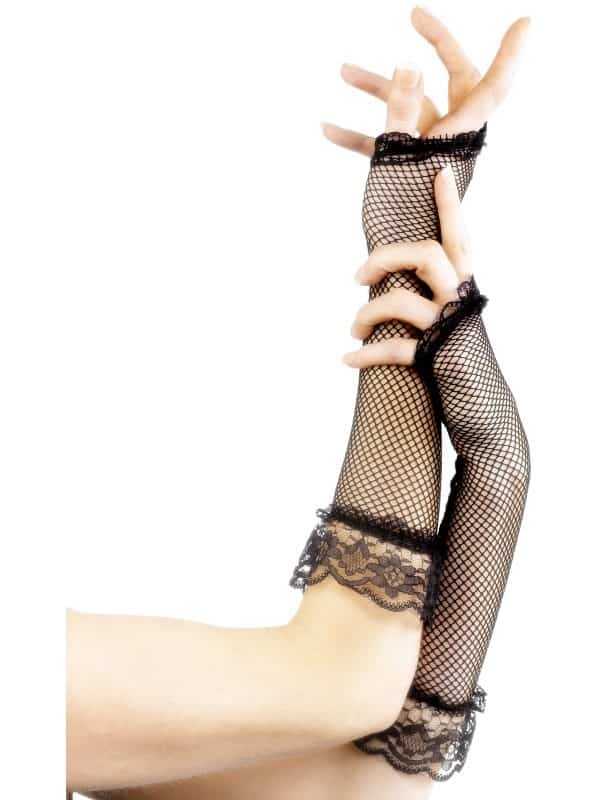 Fingerless Fishnet Gloves Black