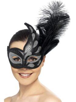 Ornate Colombina Feather Eyemask